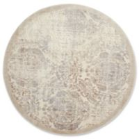Nourison Graphic Illusions Damask 5-Foot 3-Inch Round Area Rug in Ivory