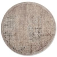 Nourison Graphic Illusions Damask 5-Foot 3-Inch Round Area Rug in Grey