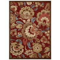 Nourison Gil Oversized Floral 5-Foot 3-Inch x 7-Foot 5-Inch Area Rug in Red