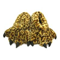 Wishpets Size Large 15-Inch Furry Leopard Slippers