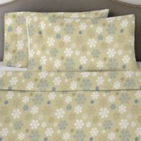 Pointehaven 170 GSM Snow Flakes Twin Sheet Set in Oatmeal