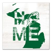 Designs Direct Michigan State Pride 16-Inch Square Canvas Wall Art in Green