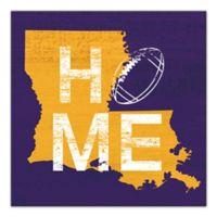 Designs Direct Louisiana State Pride 16-Inch Square Canvas Wall Art in Purple