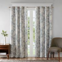 SunSmart Julie Printed Botanical 95-Inch Grommet Top Room Darkening Window Curtain Panel in Aqua