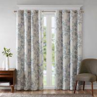 Sunsmart Julie Printed Botanical 95 Inch Grommet Top Room Darkening Window Curtain Panel In Aqua