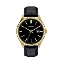 CARAVELLE Men's 41.25mm Watch in Goldtone Stainless Steel with Black Leather Strap