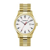CARAVELLE Men's 40mm Easy Reader Watch in Goldtone Stainless Steel with Expansion Band