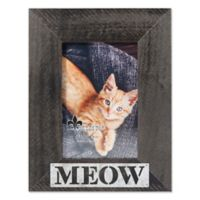 "Lawrence Frames 4-Inch x 6-Inch ""Meow"" Distressed Wood Picture Frame"