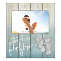 "Coastal ""Life is Better in Flip Flops"" 4-Inch x 6-Inch Wood Picture Frame"