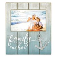 "Coastal ""Family is My Anchor"" 4-Inch x 6-Inch Wood Picture Frame"