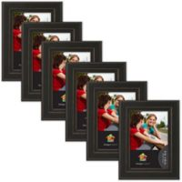 Uniek Keiva Matted 4-Inch x 6-Inch Picture Frame in Black ( Set of 6)
