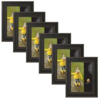 Uniek Keiva Matted 5-Inch x 7-Inch Picture Frame in Black ( Set of 6)