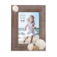"""Prinz Coastal 4"""" x 6"""" Shell Accented Wood Picture Frame"""