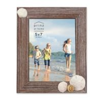 """Prinz Coastal 5"""" x 7"""" Shell Accented Wood Picture Frame"""