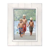 Prinz Coastal 5-Inch x 7-Inch Grooved Wood Plank Picture Frame in White