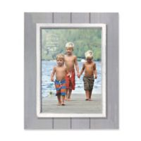 Prinz Coastal 5-Inch x 7-Inch Grooved Wood Plank Picture Frame in Grey