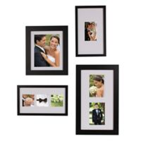 Gallery 4-Piece Wood Picture Frame Set in Black