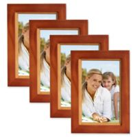 Muse 4-Inch x 6-Inch Wood Picture Frame in Brown/Natural (Set of 4)