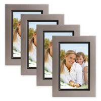 Muse 4-Inch x 6-Inch Wood Picture Frame in Pewter/Black (Set of 4)
