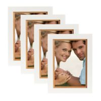 Muse 5-Inch x 7-Inch Wood Picture Frame in White/Natural (Set of 4)