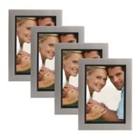 Muse 5-Inch x 7-Inch Wood Picture Frame in Pewter/Black (Set of 4)