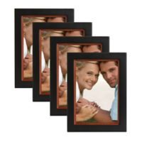 Muse 5-Inch x 7-Inch Wood Picture Frame in Black/Walnut (Set of 4)