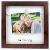 "Pearhead® ""I Love My Dog"" 3.5-Inch x 5-Inch Clothespin Shadowbox Frame in Espresso"