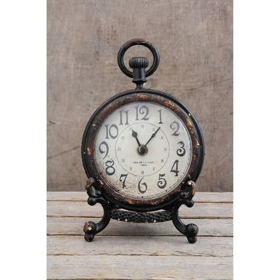 65inch pewter mantle clock with black stand