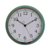 14.76-Inch Round Metal Wall Clock in Aqua