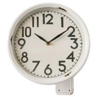 11.25-Inch Round Iron Wall Clock with Bracket in White
