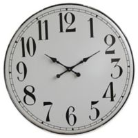 36.25-Inch Round Iron Wall Clock in Grey