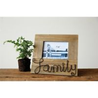 "Creative Co-Op ""Family"" 5-Inch x 7-Inch Pine Photo Frame"