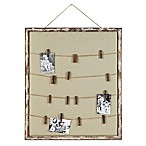 Wood and Fabric 28-Inch x 32.13-Inch Memo-Holder Frame with Twine and 16 Pins in Distressed Brown