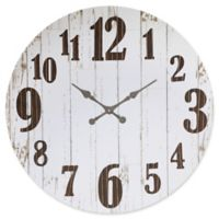 36-Inch Round Wood and Metal Wall Clock in White