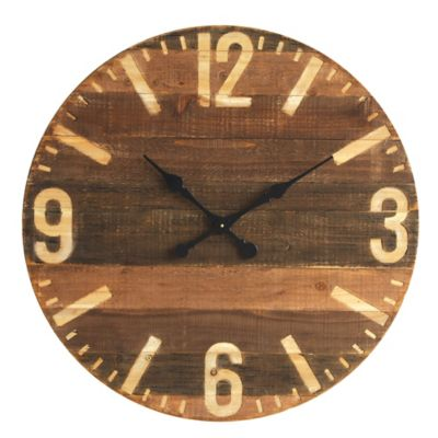 39 Inch Round Wood Wall Clock In Brown