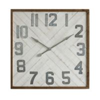 Wood and Metal 36-Inch Square Wall Clock