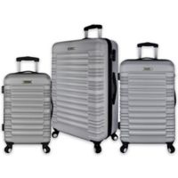 Elite Luggage 3-Piece Tustin Spinner Luggage Set in Silver