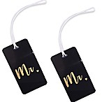 "Inventive Travelware ""Mr."" and ""Mr."" 2-Piece Luggage Tag Gift Set in Black"