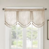 Madison Park Evelyn Scallop Embellished Window Valance in Champagne