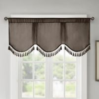 Madison Park Evelyn Scallop Embellished Window Valance in Pewter