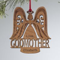 Godparent Wood Angel Personalized Christmas Wood Ornament in Brown