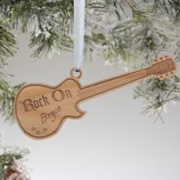 Rock On Personalized Guitar Christmas Ornament