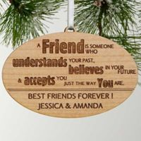 Forever Friend Personalized Christmas Wood Ornament in Brown