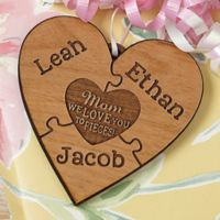 We Love Her to Pieces Wood Gift Topper in Brown