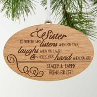 Special Sister Personalized Christmas Wood Ornament in Brown