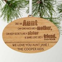 Special Aunt Engraved Christmas Wood Ornament in Brown