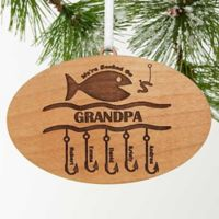 Hooked On You Engraved Christmas Wood Ornament in Brown