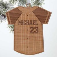 Baseball Jersey Wood Christmas Ornament