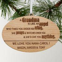 Wonderful Grandma Christmas Wood Ornament in Brown