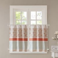 Madison Park Dawn 24-Inch Kitchen Window Curtain Tier Pair in Coral